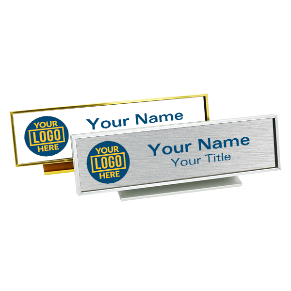 "Executive Desk Name Plate Holder with Full color Insert (Square Corners) 2"" x 8"""