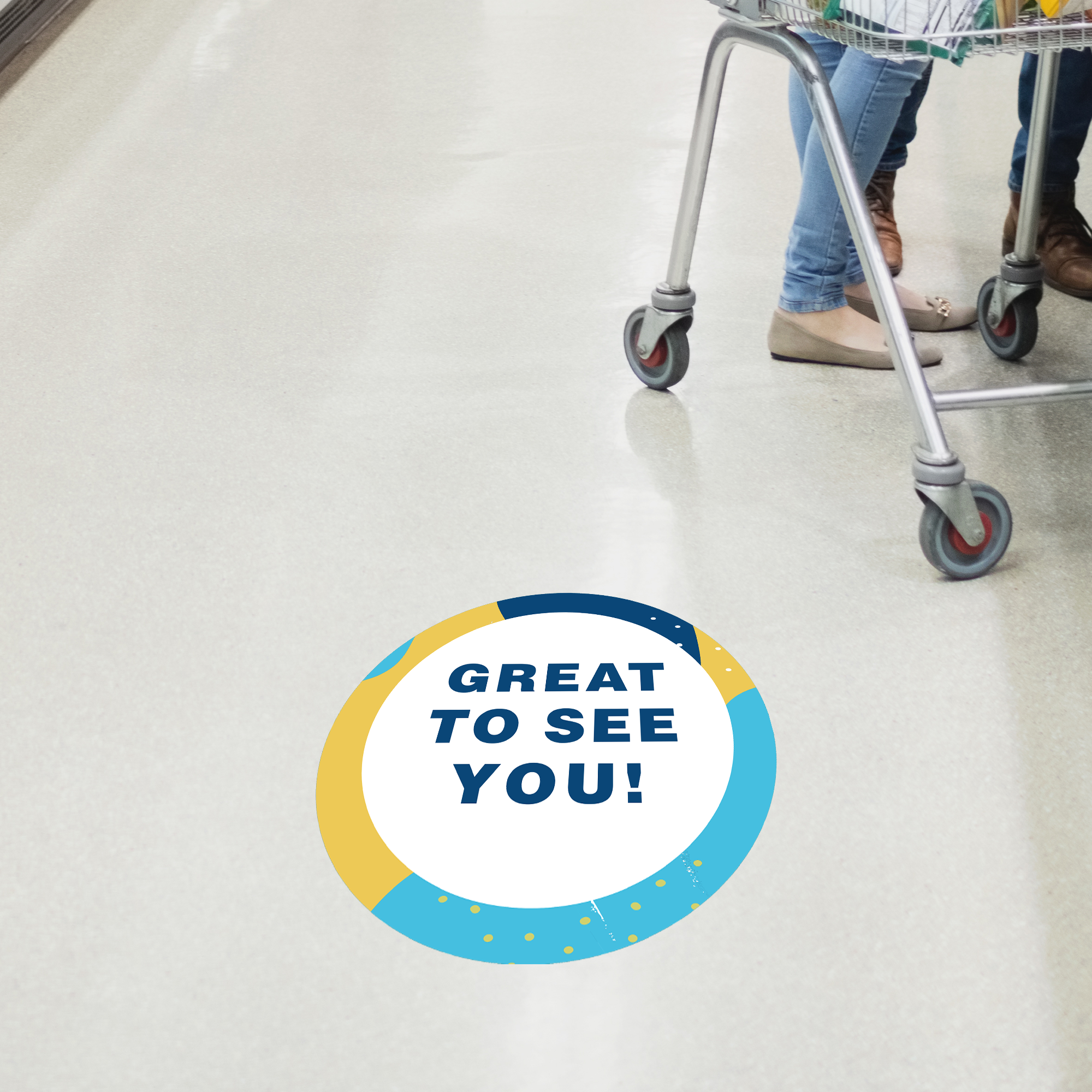 Great to See You Aqua Set Business Reopening Floor Decal