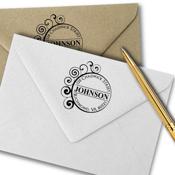 Circle Curve Filigree Return Address Stamp Imprint Example
