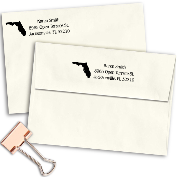 Florida Return Address Stamp Imprint Example