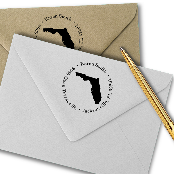 Florida Round Address Stamp Imprint Example