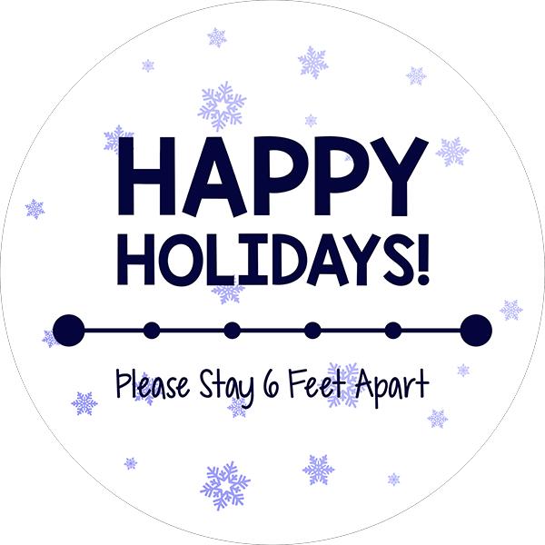 Happy Holidays Snowflake Vinyl Floor Decal