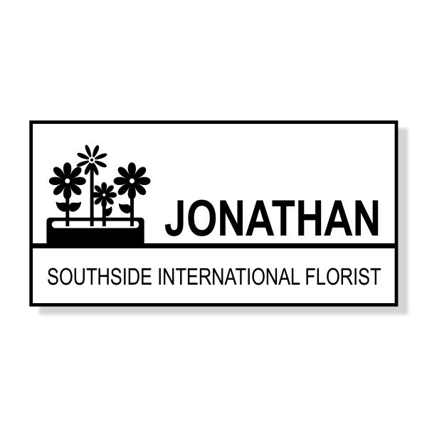 Flower Box Rectangle Florist Name Tag