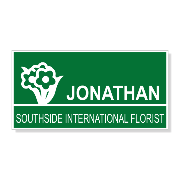 Flower Bunch Rectangle Florist Name Tag
