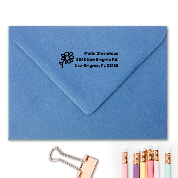 Daisy Flower Address Stamp Imprint Example