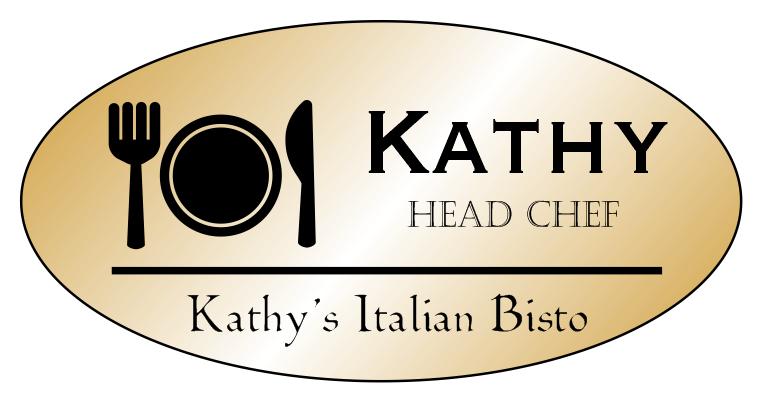 Oval 3 Line Restaurant Name Badge A
