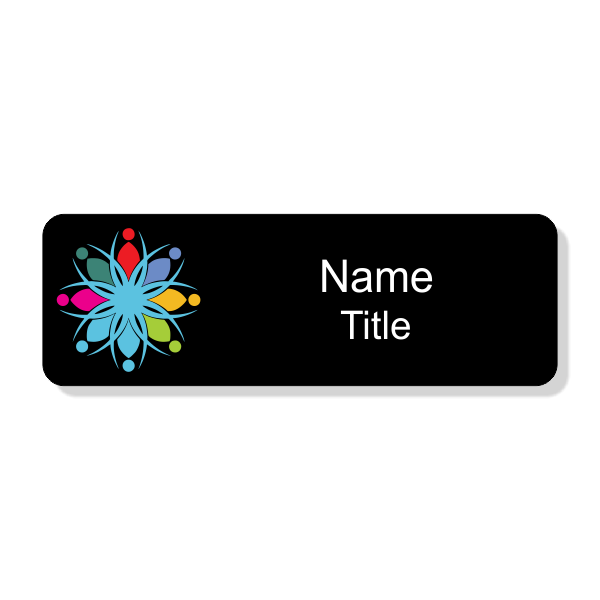 Full Color Black Economy Name Tag