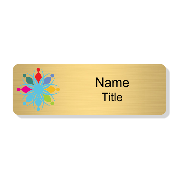 Full Color Gold Economy Name Tag