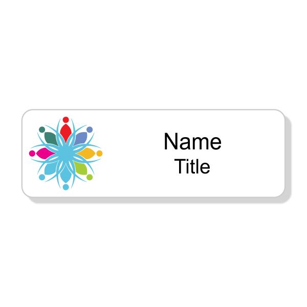 Full Color White Economy Name Tag