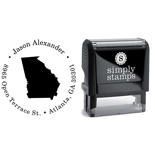 Georgia Round Address Stamp Body and Design
