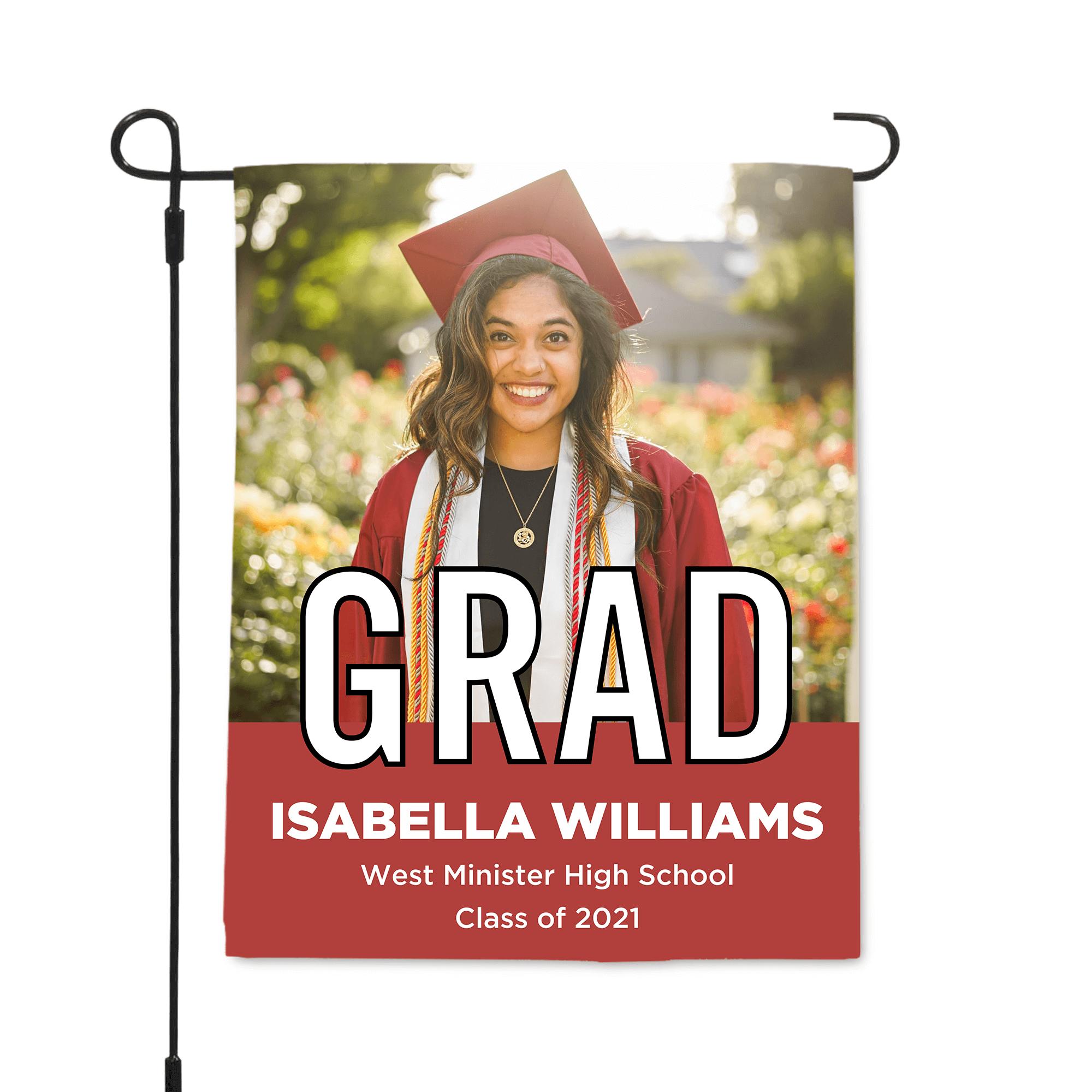 2021 Graduation Block Lettering Garden Flag
