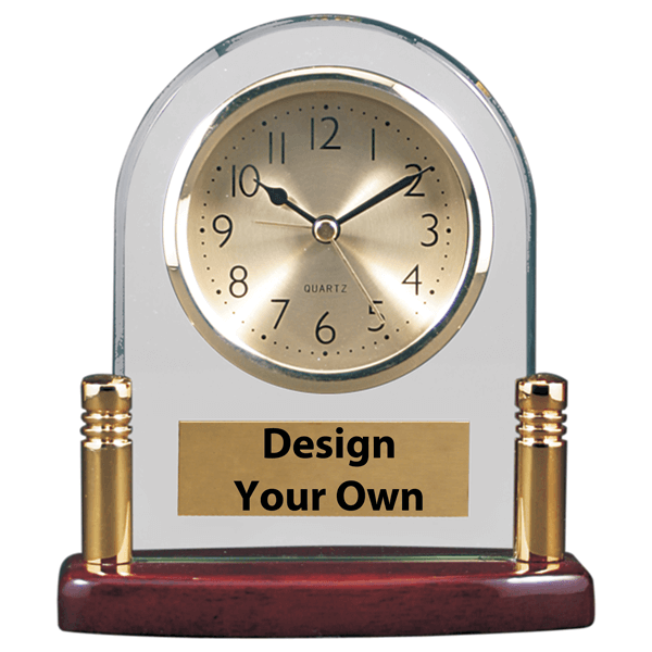 T133 - Arch Glass Desk Clock with Metal Posts and Rosewood Base