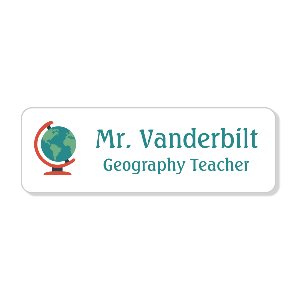 Globe Teacher School Name Tag