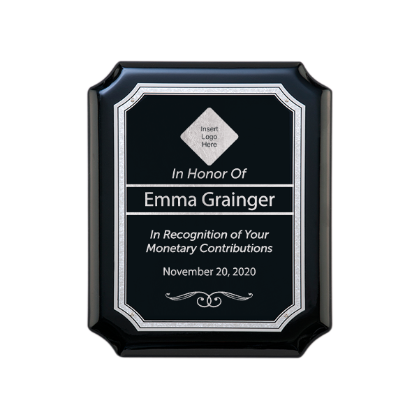 Gloss Black and Silver Donor Recognition Wall Plaque with Scalloped Corners