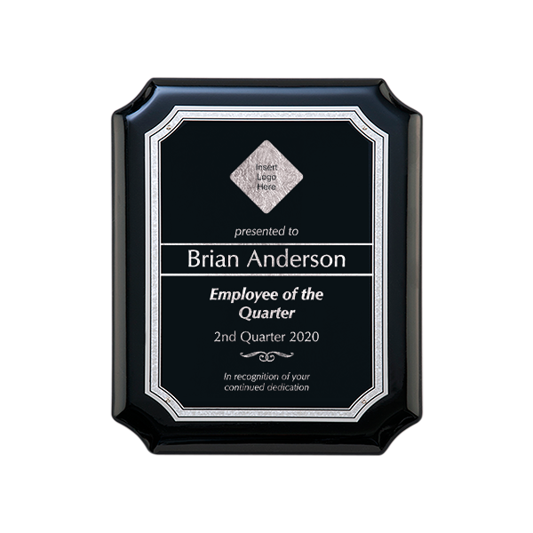 Gloss Black and Silver Employee of the Quarter Wall Plaque with Scalloped Corners