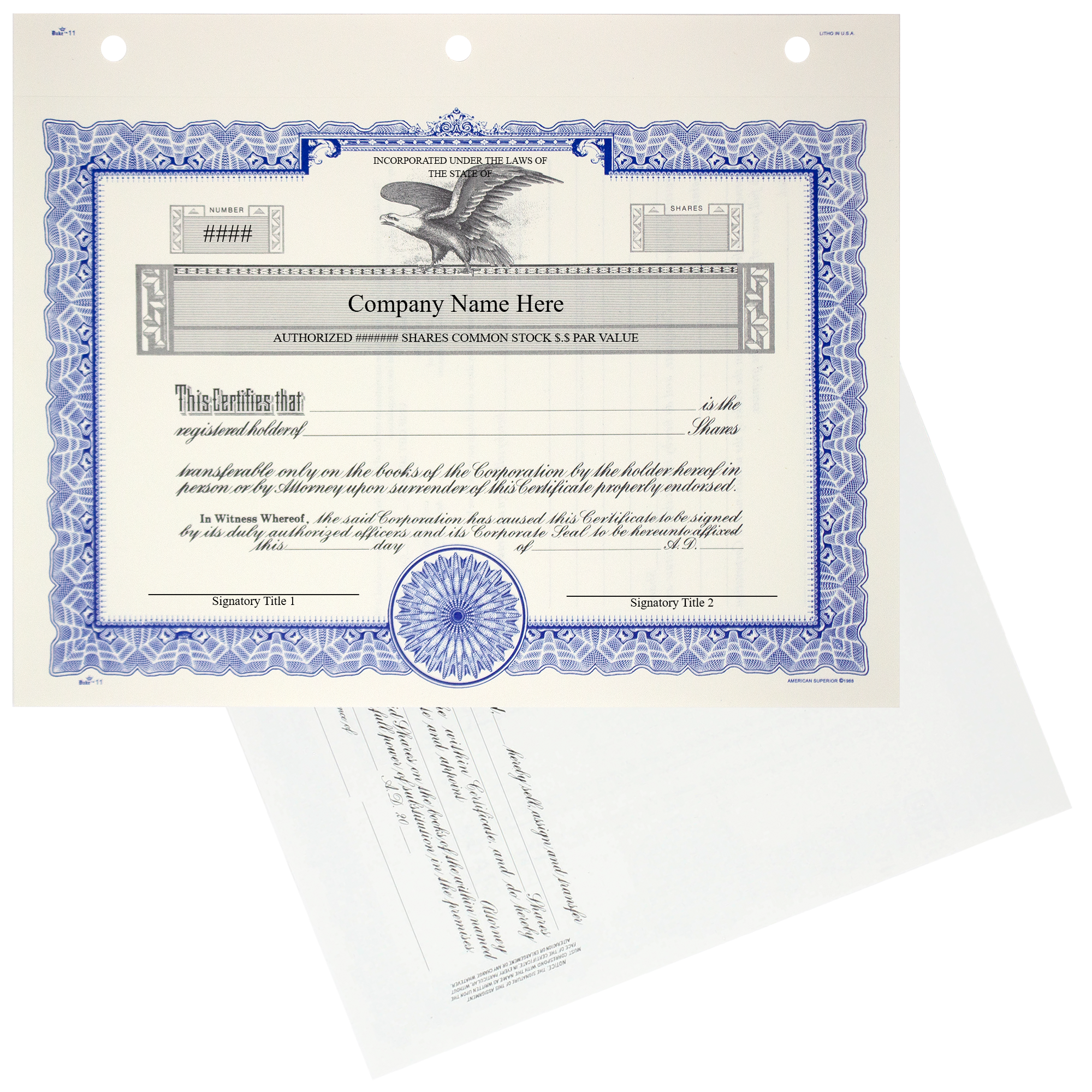 GOES KG3 Corporate Stock Certificates | Quantity of 20 or More