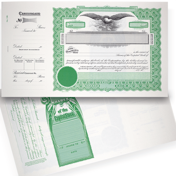 GOES 196 Blank Corporate Stock Certificates   Quantity of 20 or More
