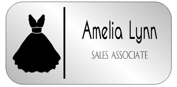 Bridal Shop 2 Line Rounded Rectangle Name Badge