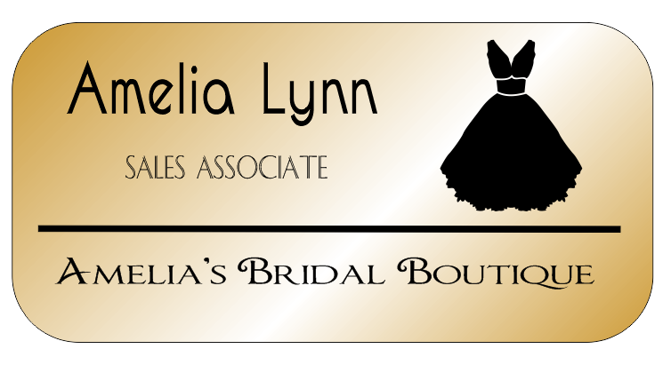 Bridal Shop 3 Line Rounded Rectangle Name Badge