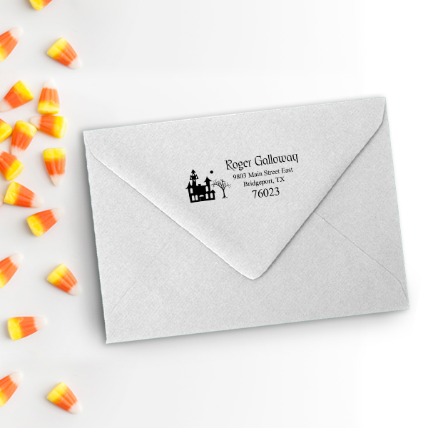 Haunted Scene Halloween Return Address Stamp Imprint Example