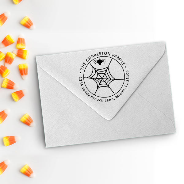 Spider Web Halloween Return Address Stamp Imprint Example