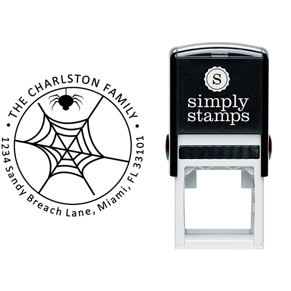 Spider Web Halloween Return Address Stamp Body and Design