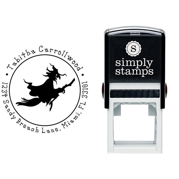 Witch Broom Return Address Stamp Body and Design
