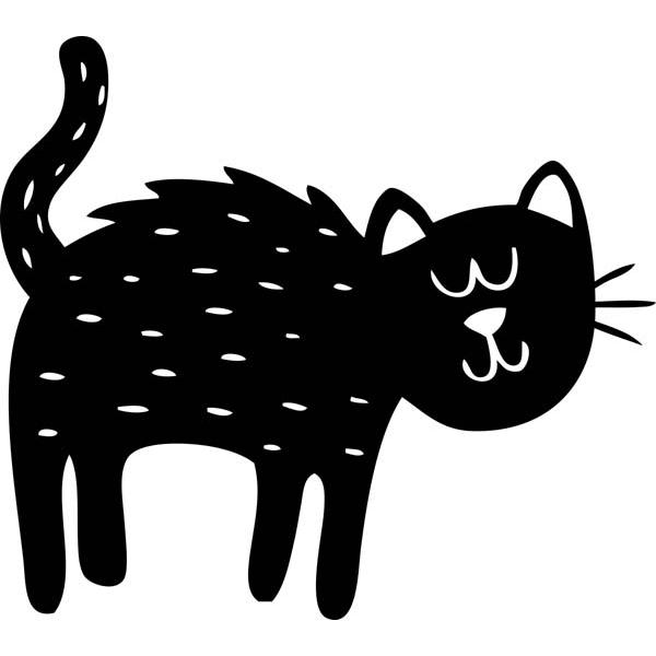 "Cute Black Cat Halloween Craft Stamp   2"" x 2"""
