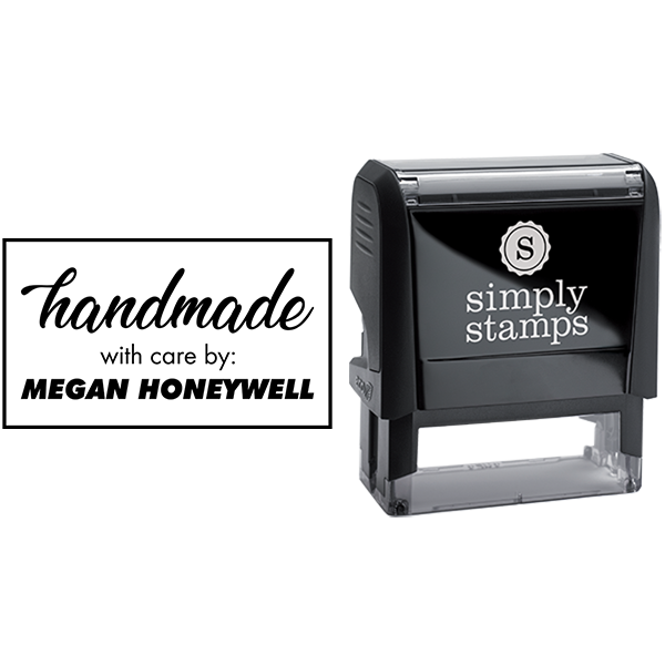 Handmade with Care by Custom Name Business Stamp