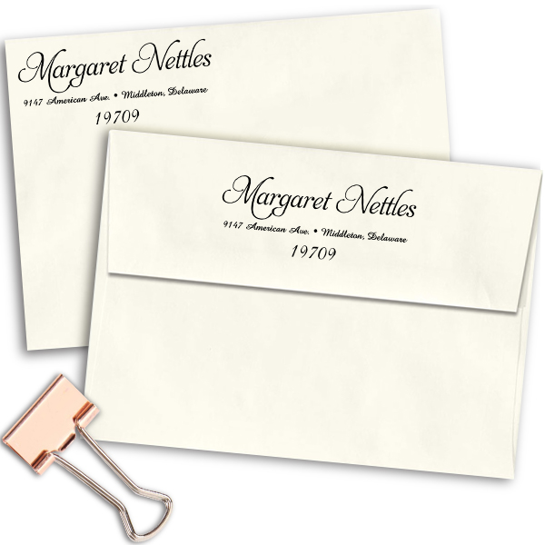 Nettles Handwritten Address Stamp Imprint Example