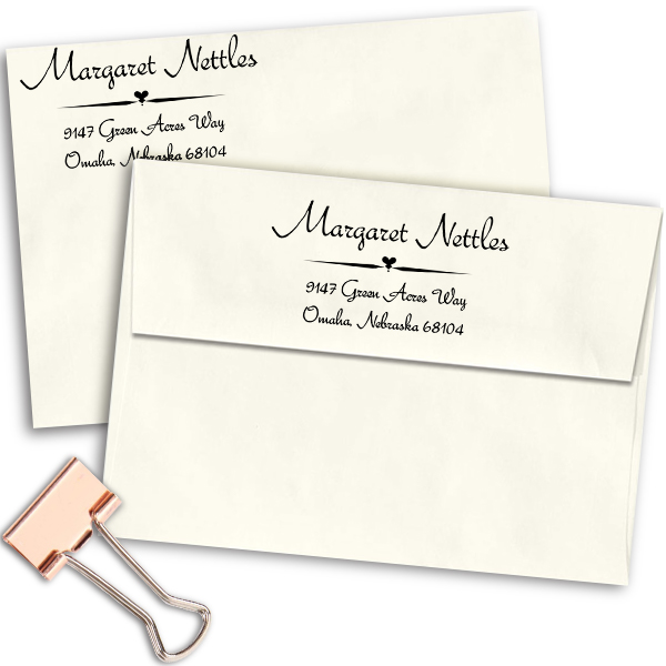 Nettles Deco Handwritten Address Stamp Imprint Example
