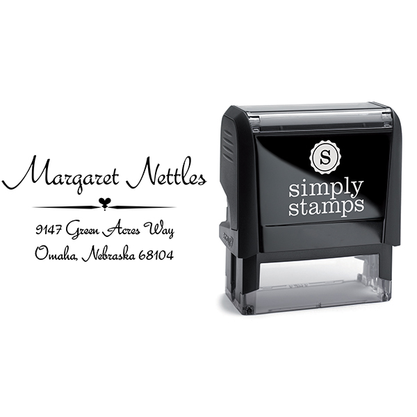 Nettles Deco Handwritten Address Stamp Body and Design