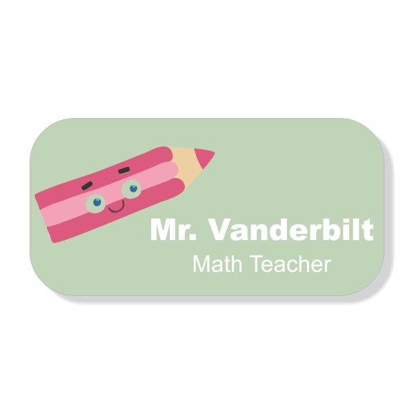 Happy Pencil School Name Tag