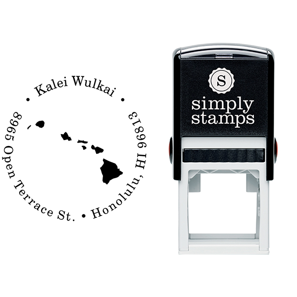 Hawaii Round Address Stamp Body and Design