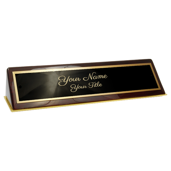 "Rosewood Piano Finish Desk Name Plate Script Font  2"" x 10"""