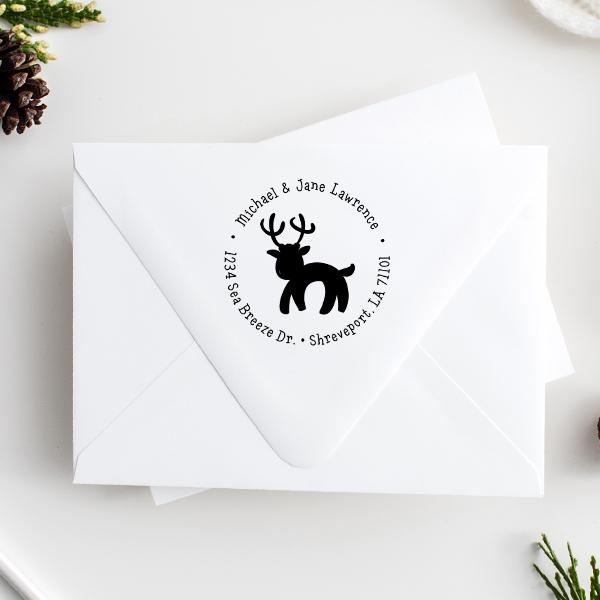 Lawrence Reindeer Return Address Stamp Imprint Example