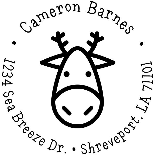 Simple Sketch Reindeer Custom Return Address Stamp