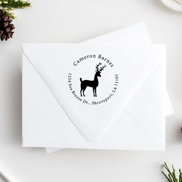 Stag Reindeer Return Address Stamp Imprint Example