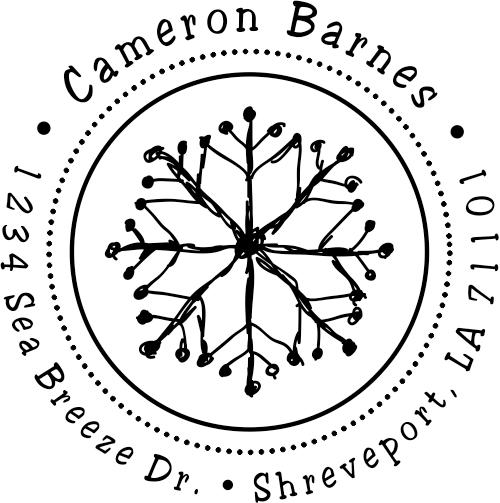 Winter Illustrated Snowflake Return Address Stamper