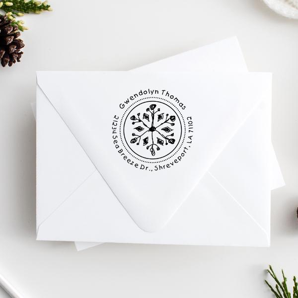 Thomas Hand Drawn Snowflake Return Address Stamp Imprint Example