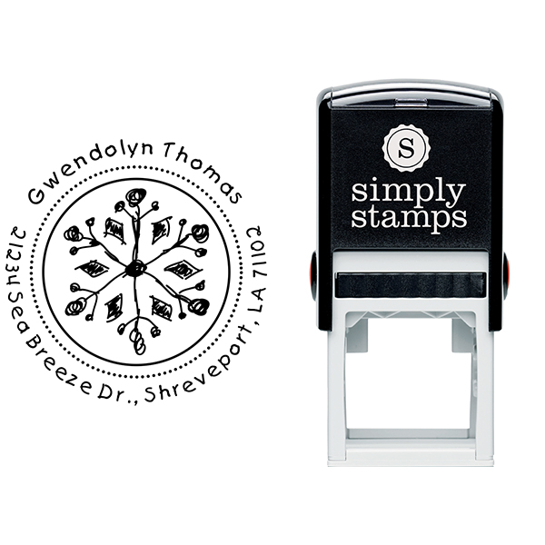 Thomas Hand Drawn Snowflake Return Address Stamp Body and Design