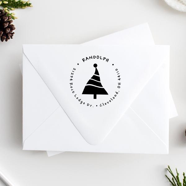 Dancing Christmas Tree Return Address Stamp Imprint Example