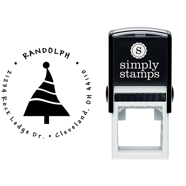 Dancing Christmas Tree Return Address Stamp Body and Design