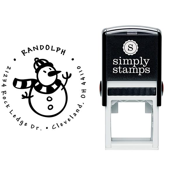 Scarved Snowman Return Address Stamp Body and Design