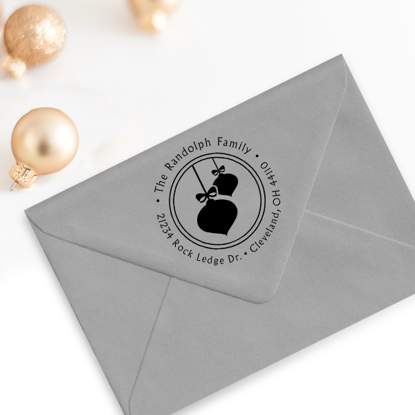 Randolph Christmas Ornaments Return Address Stamp Imprint Example