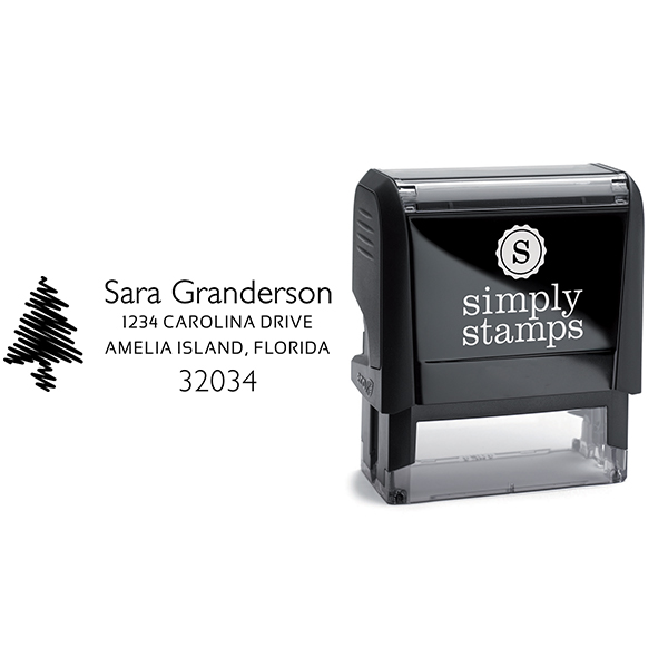 Sketched Christmas Tree Address Stamp Body and Design