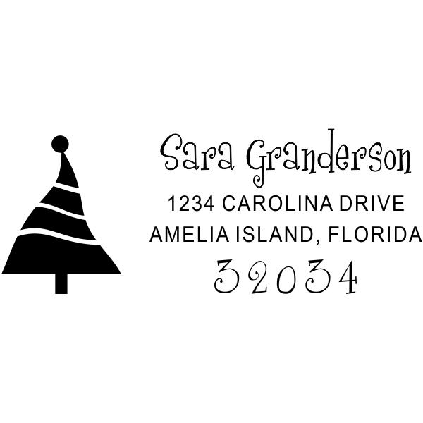 Warped Christmas Tree Address Stamp