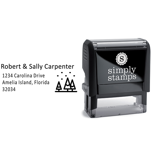 Winter Christmas Tree Address Stamp Body and Design