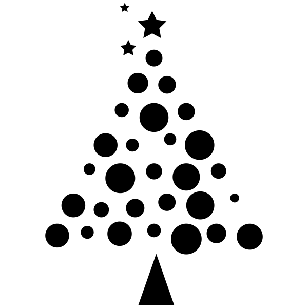 Dotted Christmas Tree Craft Rubber Stamp