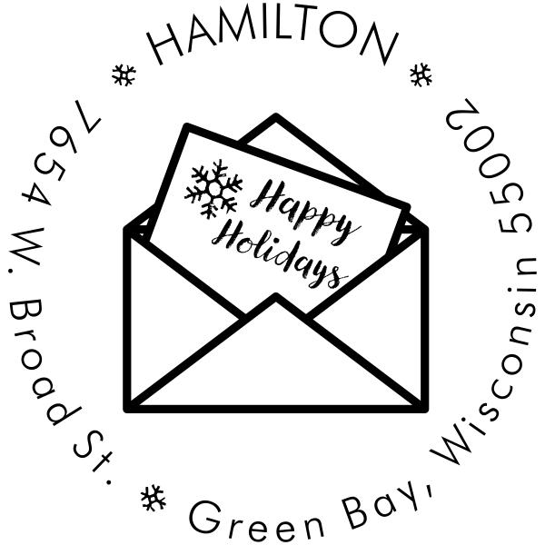 Happy Holidays Card Address Stamp
